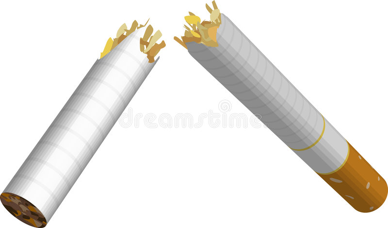 Broken Cigarette. An illustration of a broken cigarette. No meshes used stock illustration