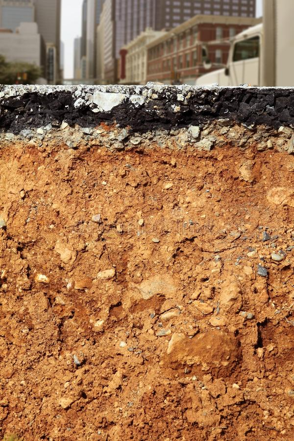Broken City Road Excavation Cross Section Royalty Free Stock Photo
