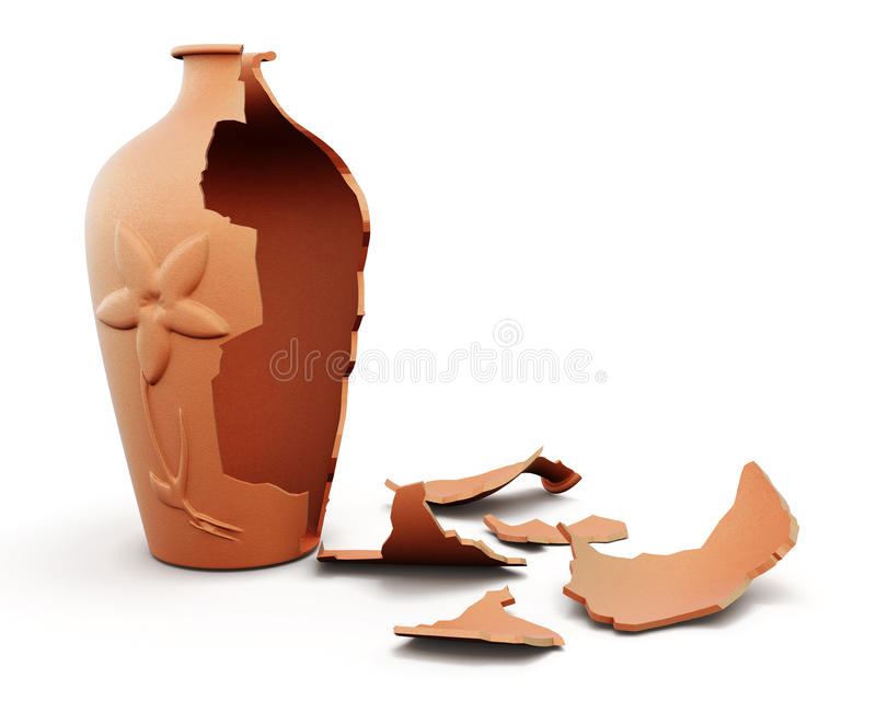 Broken clay vase on white background. 3d render image stock illustration