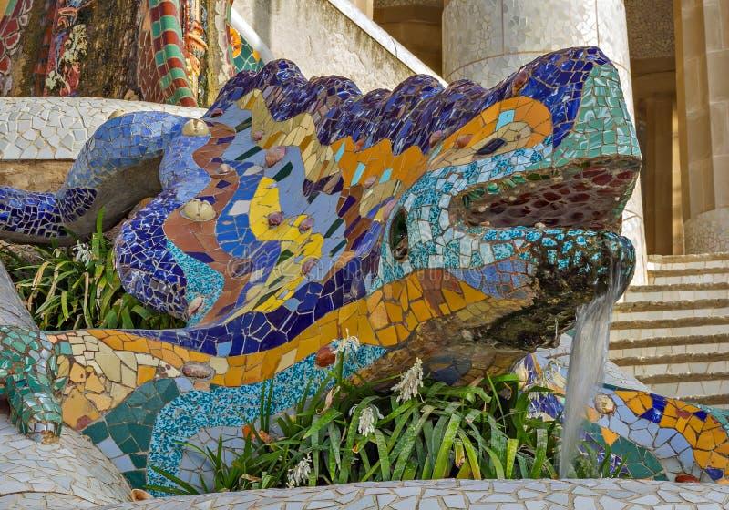 Dragon salamandra Antoni Gaudi, Barcelona royalty free stock photo