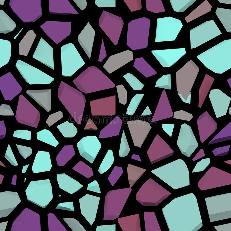 Broken color stone mosaic . the color stone wall seamless and texture interior background,3D rendering. Broken color stone mosaic seamless pattern. the color stock illustration