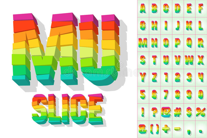 Broken colorful alphabet. Vector illustration of bright fresh block font royalty free illustration