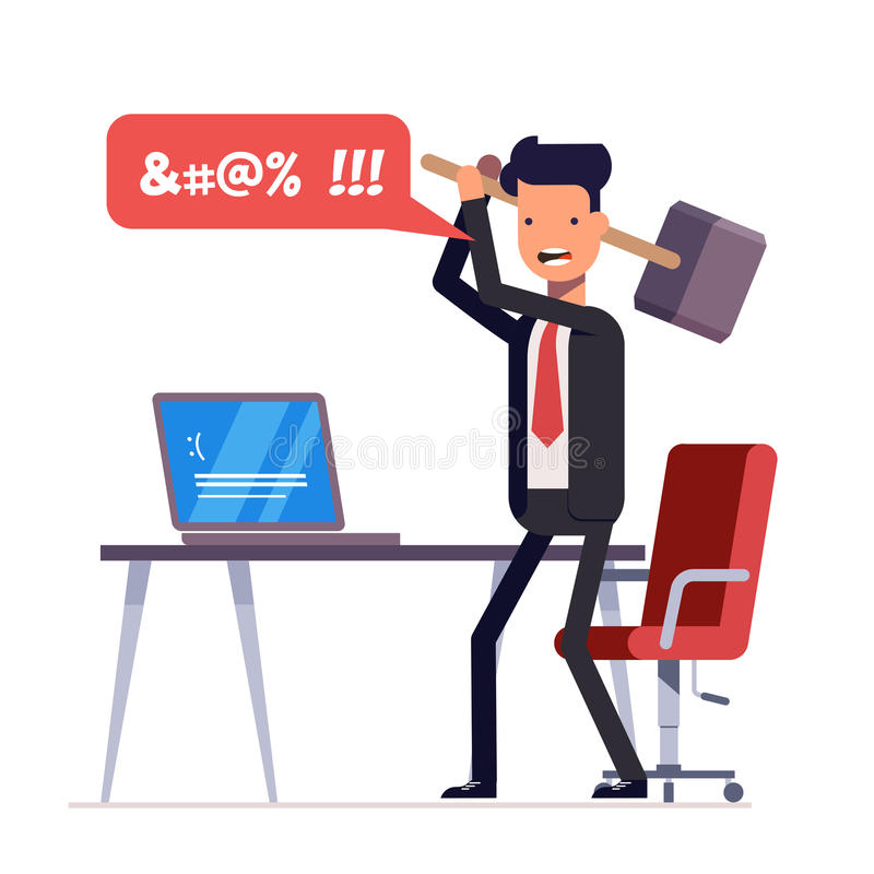 Broken computer with a blue screen of death. Computer virus. An angry businessman or manager with a sledgehammer in his. Hand expresses swearing. Flat royalty free illustration