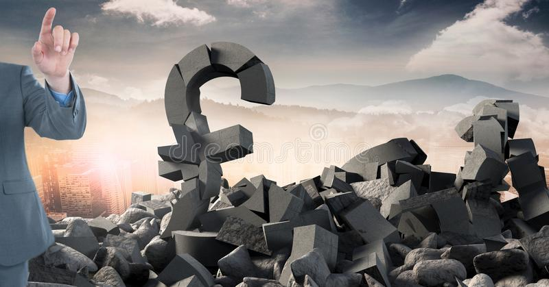 Broken concrete stone with money pound symbol and businessman in cityscape. Digital composite of Broken concrete stone with money pound symbol and businessman in stock photography