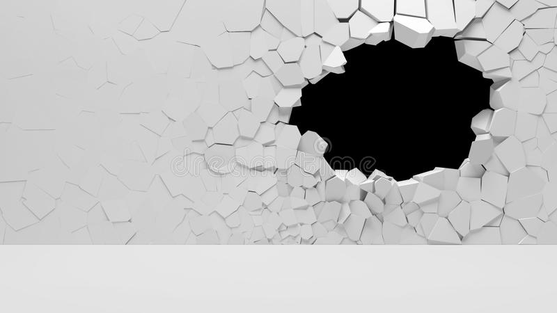 Broken Concrete Wall. 3d illustration vector illustration