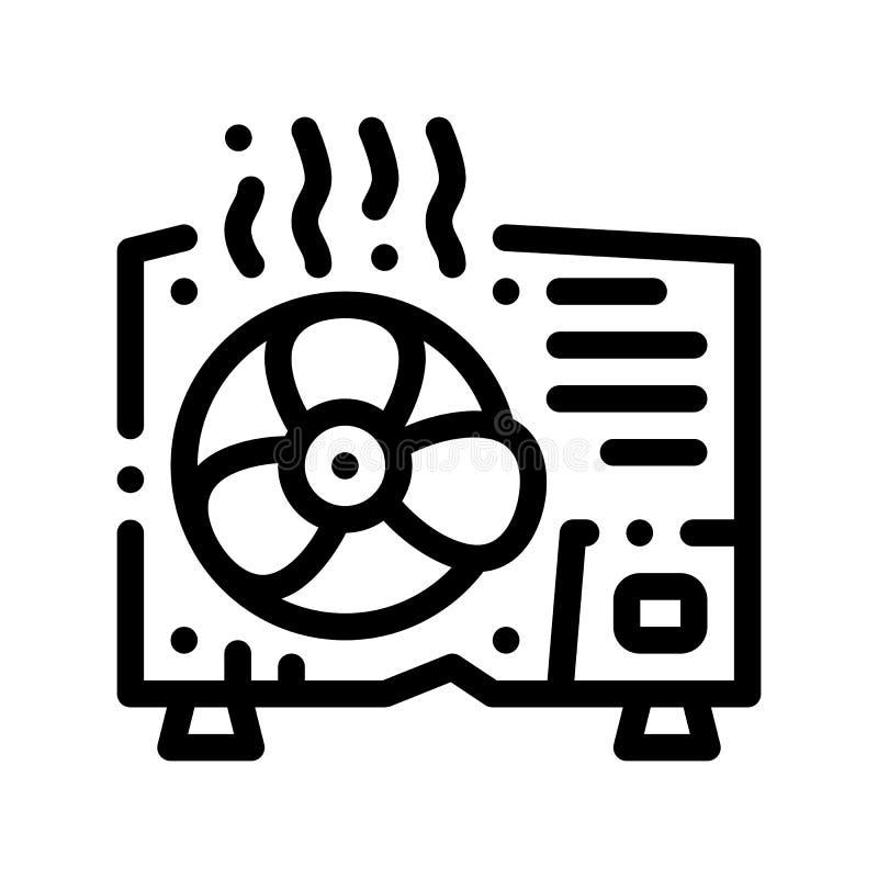Broken Conditioner System Vector Thin Line Icon vector illustration