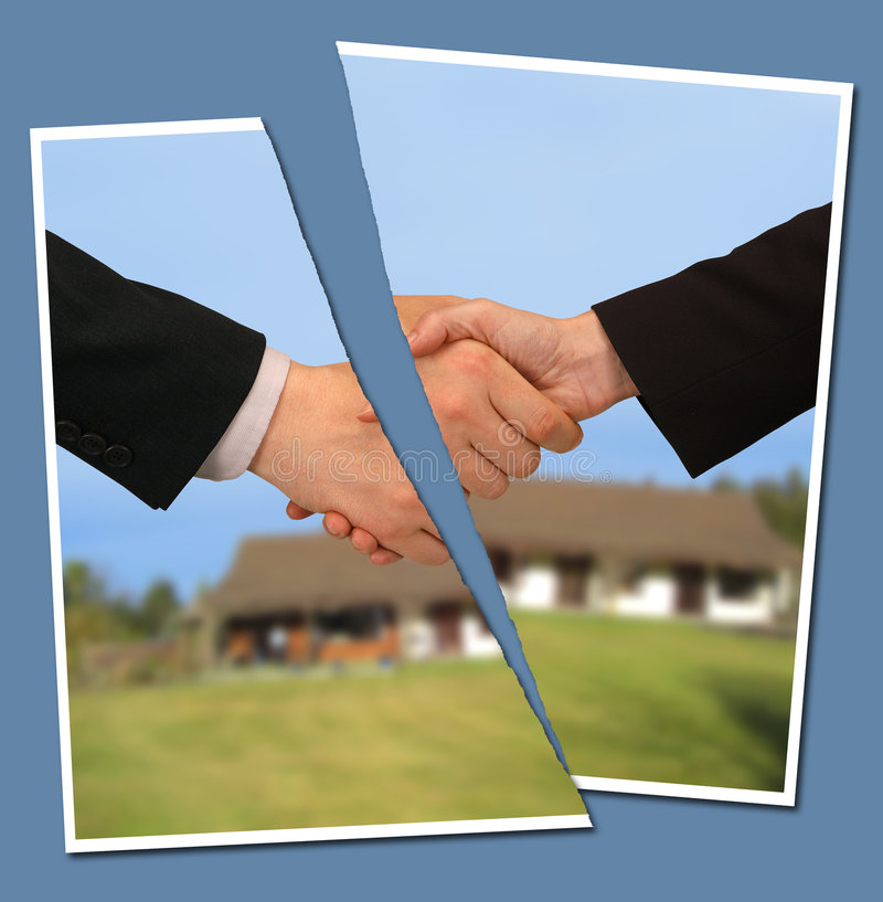 Broken contract. Torn photograph of people shaking hands against a property royalty free stock photography