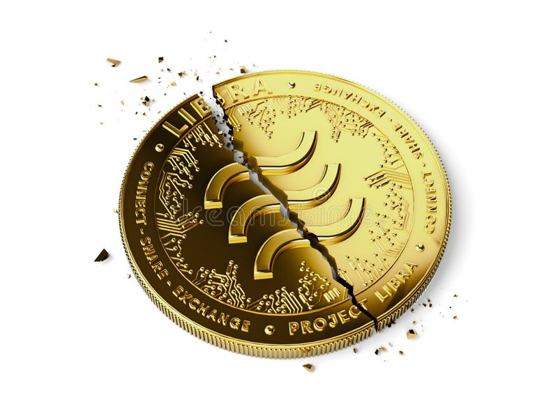 A broken or cracked Libra concept coin is laying isolated on white background. Libra in troubles - abandoned by investors concept. 3D render royalty free stock photography