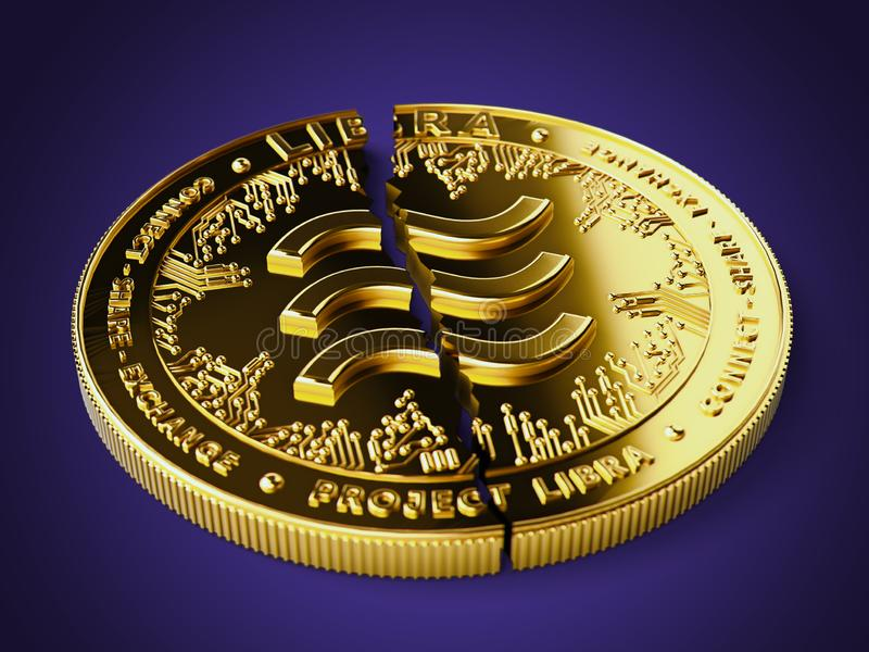 A broken or cracked Libra concept coin is laying on violet background. Libra in troubles - abandoned by investors concept. 3D. Render royalty free stock photos