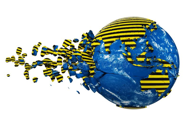 Broken crashed planet Earth globe isolated on white background. Striped police warning safety ribbon. 3d render with maps NASA. royalty free illustration