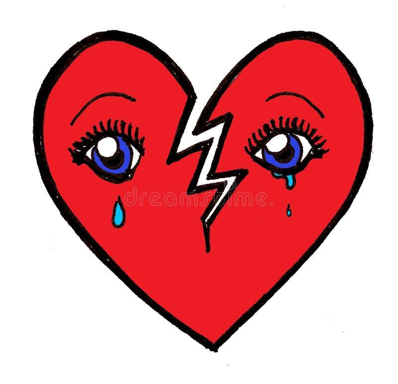 broken crying heart απεικόνιση αποθεμάτων