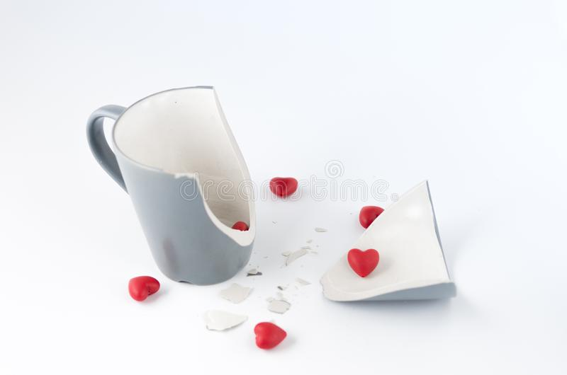 Broken dishes. Broken feelings and attitudes. Front view royalty free stock images