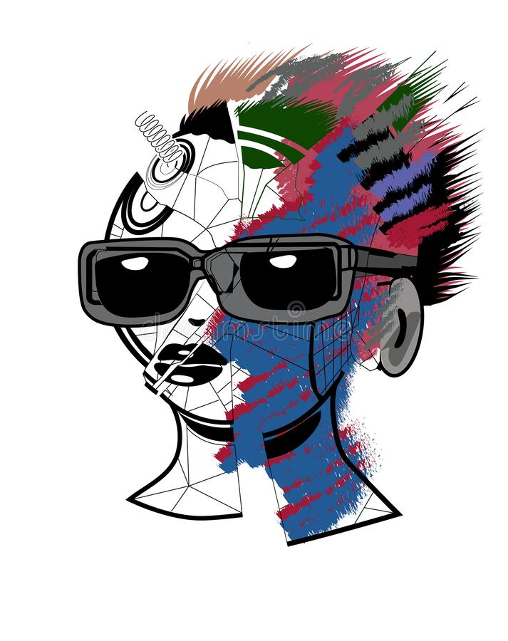 Broken doll head. With colorful strokes royalty free illustration