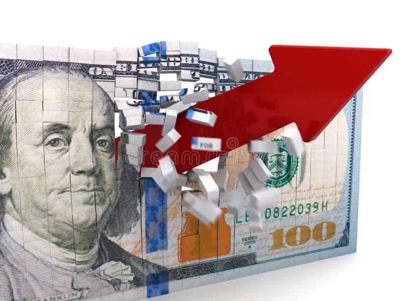 broken dollar διανυσματική απεικόνιση