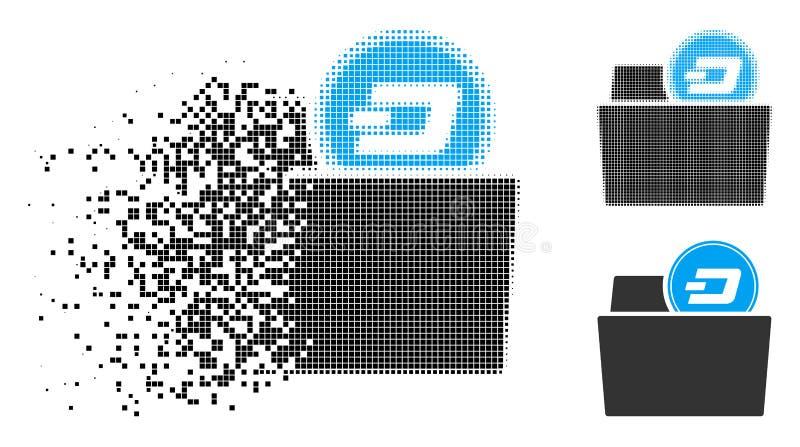 Broken Dotted Halftone Dash Folder Icon. Dash folder icon in fractured, dotted halftone and undamaged whole variants. Cells are arranged into vector dissolving vector illustration