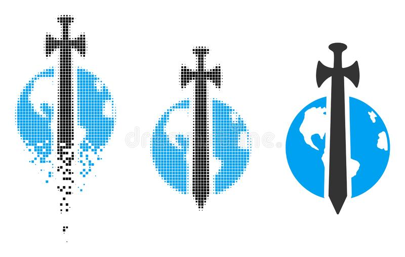 Broken Dotted Halftone Earth Military Protection Icon vector illustration