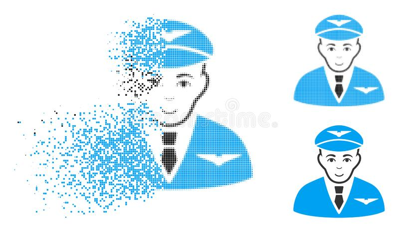 Broken Dotted Halftone Pilot Icon with Face royalty free illustration