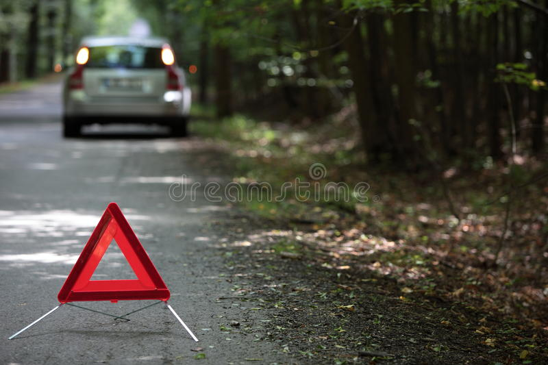 Download Broken Down Car With Warning Triangle Stock Image - Image: 12214427