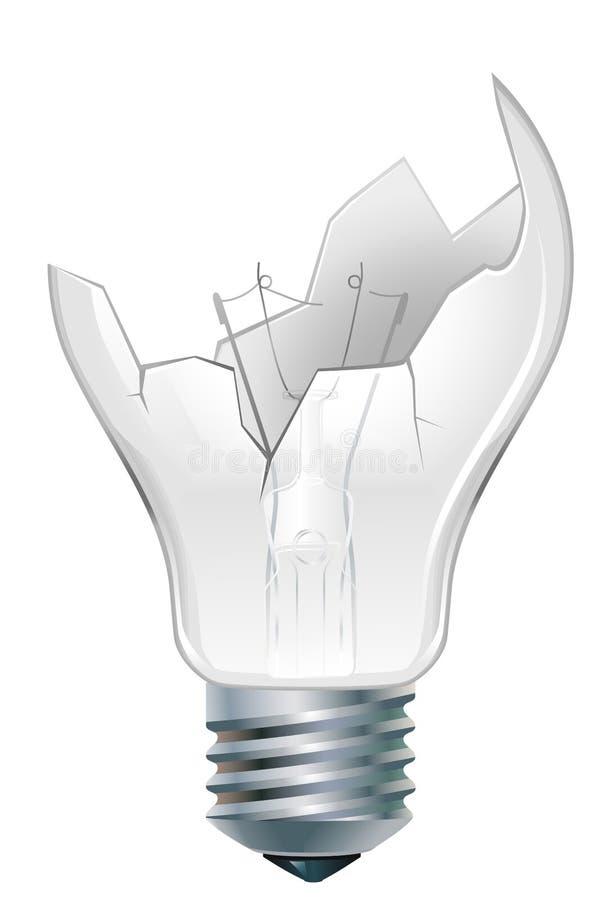 Broken-down light bulb stock illustration