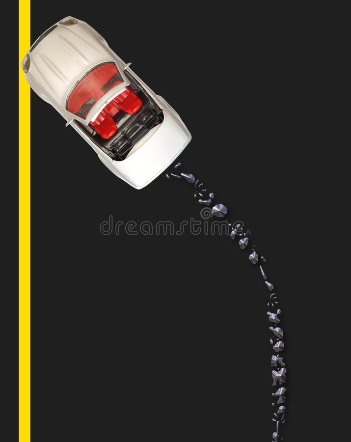Broken Down With Oil Spill - British Road Royalty Free Stock Images