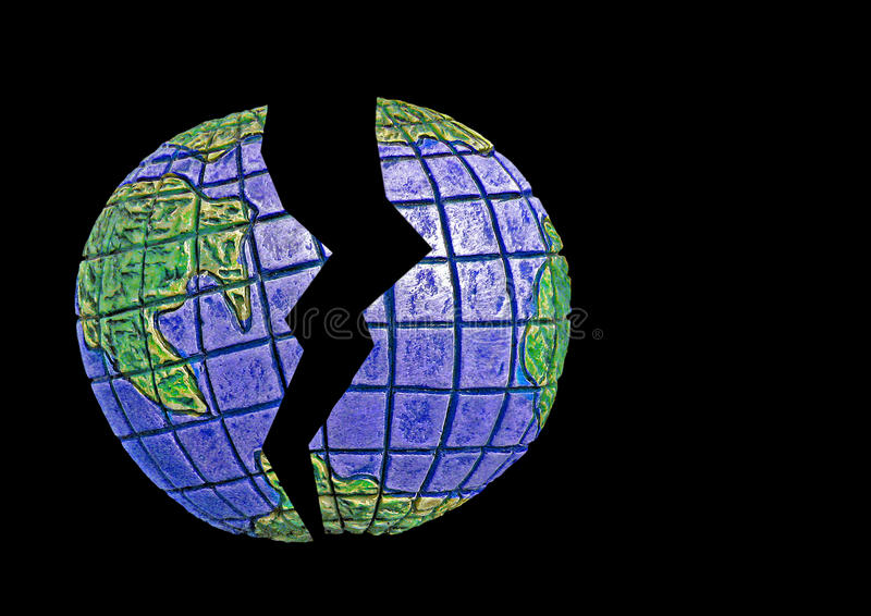 Broken earth. Photo of our earth split in two depicting environmental issues with our planet isolated on black ideal for text etc stock image