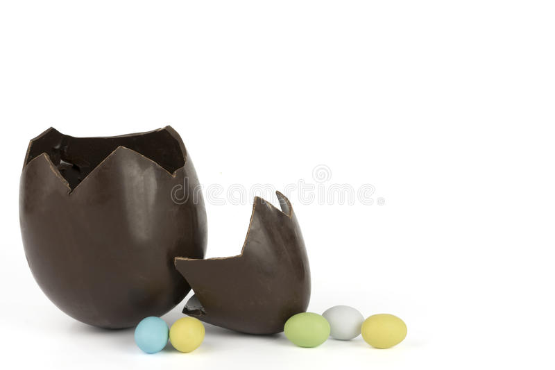 Broken easter chocolate egg royalty free stock photography