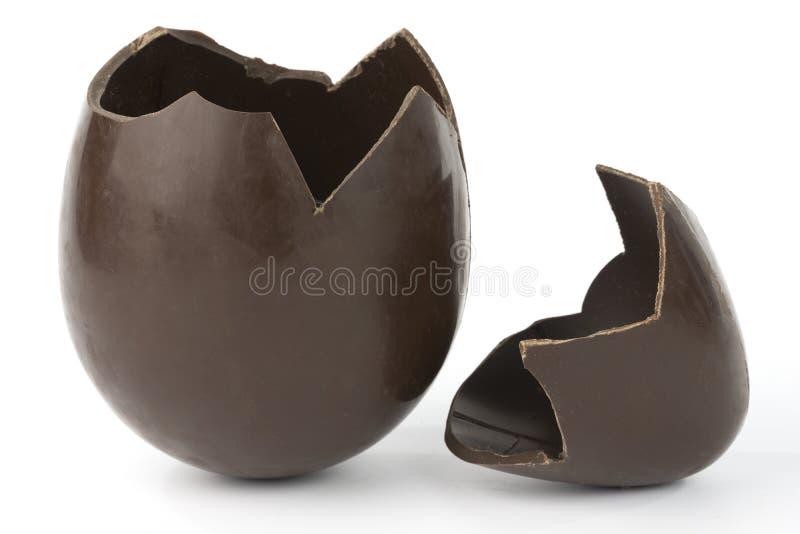 Broken easter chocolate egg stock photography