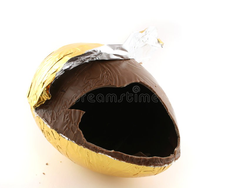 Broken Egg. Close up of a easter egg just after it has been broken open royalty free stock photography