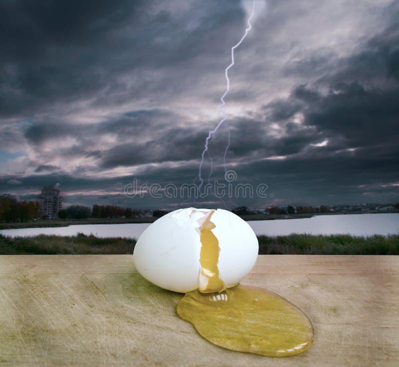 The broken egg stock image