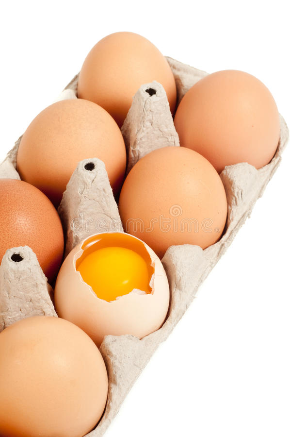 Broken Egg In Carton Royalty Free Stock Image