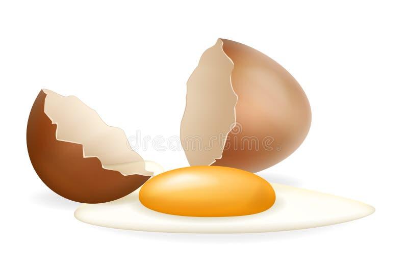Broken eggs cracked open white yolk easter eggshell design 3d realistic icon isolated vector illustration. Broken eggs cracked open white yolk easter eggshell 3d vector illustration