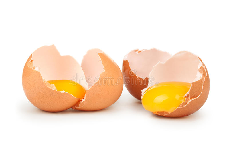 Broken eggs stock photos
