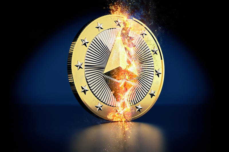 Broken Ethereum Coin - Ethereum the Virtual Crypto Currency - 3D Rendering stock images