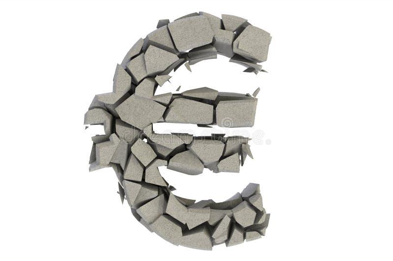 broken eurosymbol vektor illustrationer