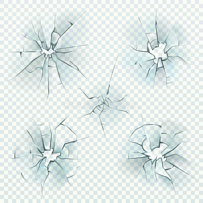broken exponeringsglas Realistisk sprucken krossad deformation avspeglar kraschis, det splittrade skärmfönstret, kulexponeringsgl royaltyfri illustrationer