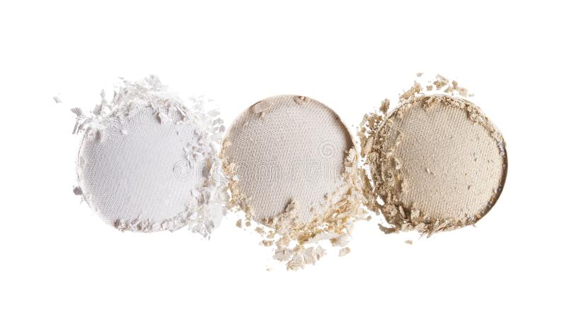 Broken eyeshadows in trendy shades. Isolated on white background stock photos