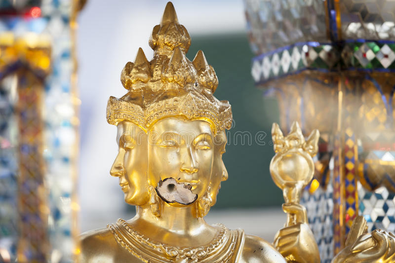 Broken face of Brahma Statue after explosion bombed. royalty free stock photos