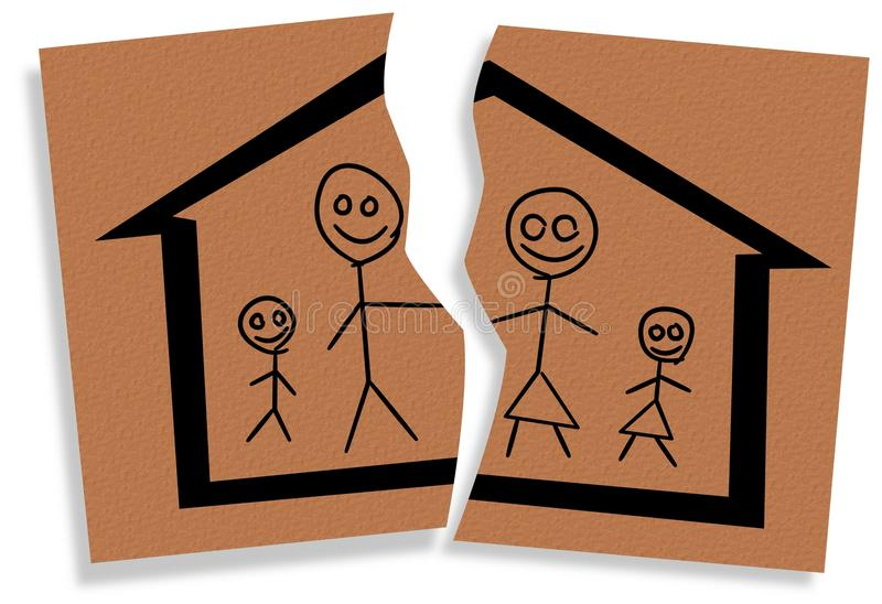 Broken family. Illustration of a child like drawing of a family on a torn paper