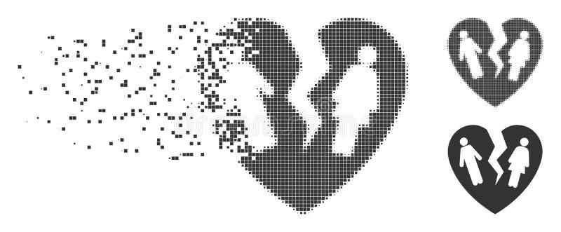 Broken Family Heart Destructed Pixel Halftone Icon royalty free illustration