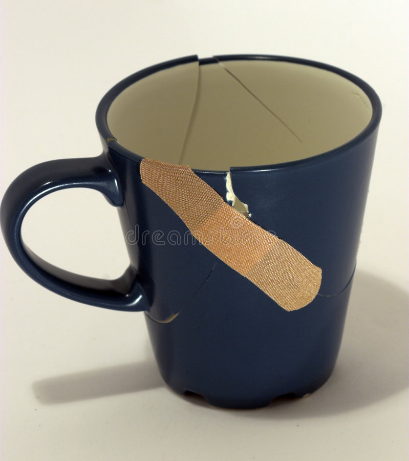 Broken (fixed now) Coffee Cup stock photography