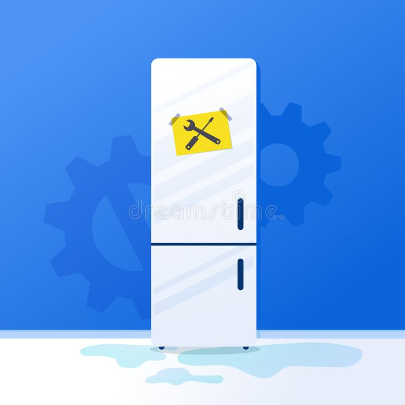 Broken fridge home kitchen appliances Household freezer with repair sign notes. Vector illustration white refrigerator. On blue wall background. Flat style stock illustration