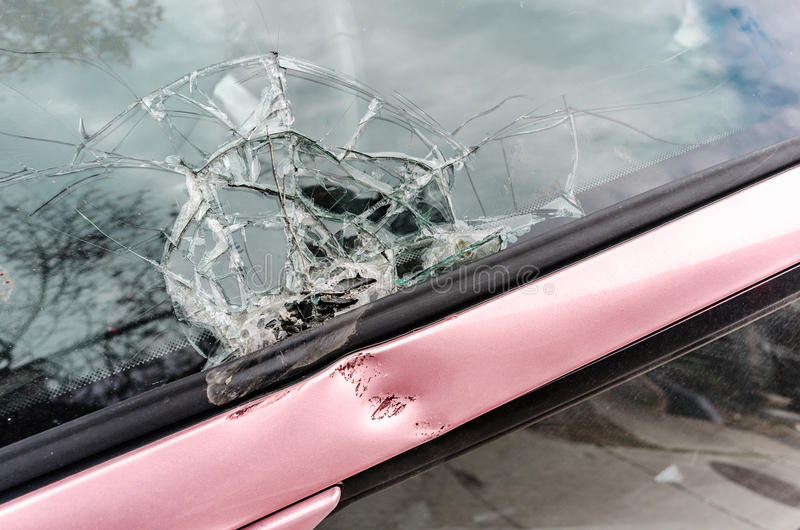 Broken front glass of a car royalty free stock photography