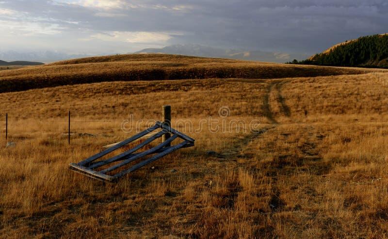 Broken gate. Cairns Golf. Tekapo. royalty free stock photography