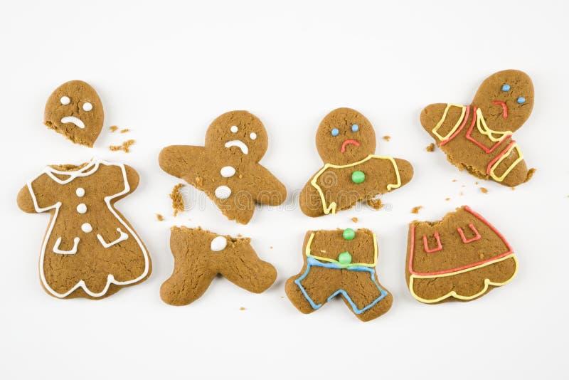 Broken gingerbread cookies. royalty free stock images
