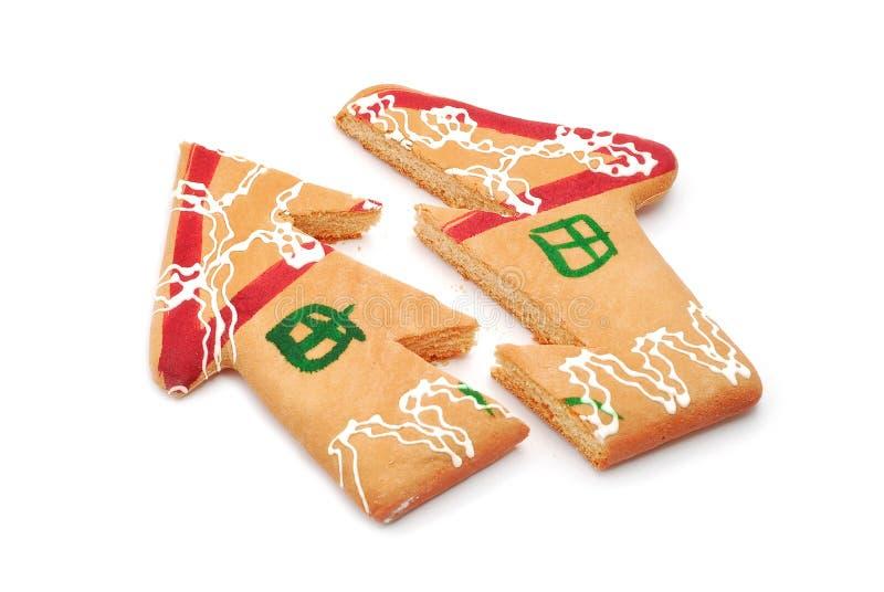 Broken gingerbread house stock photography