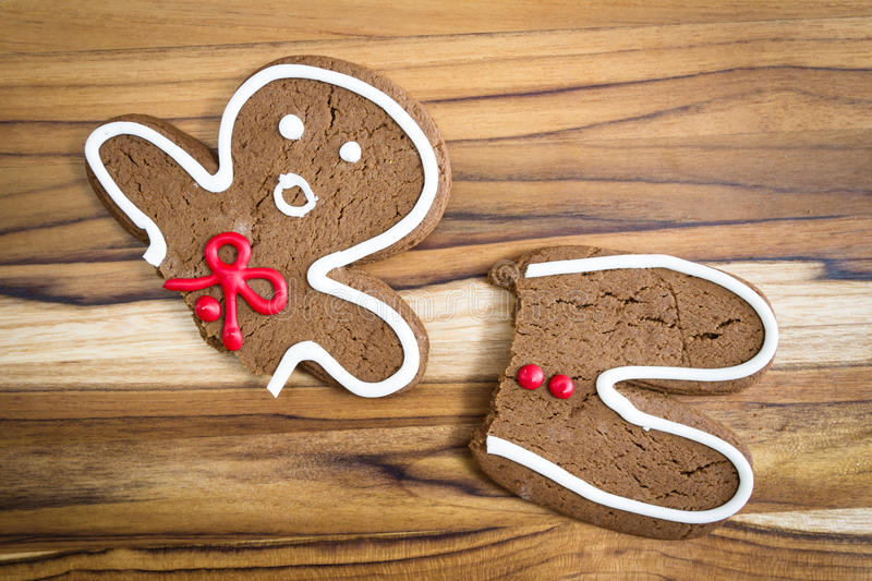 Broken gingerbread man royalty free stock photos