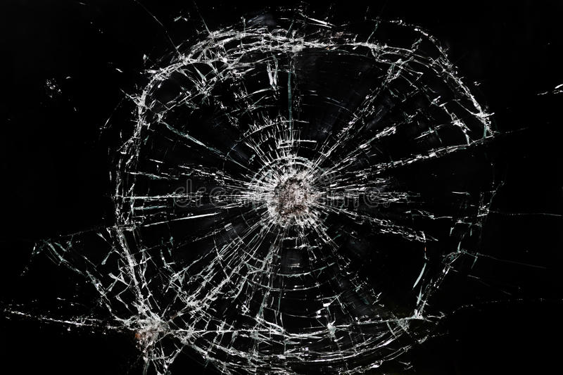 Broken glass window stock photos