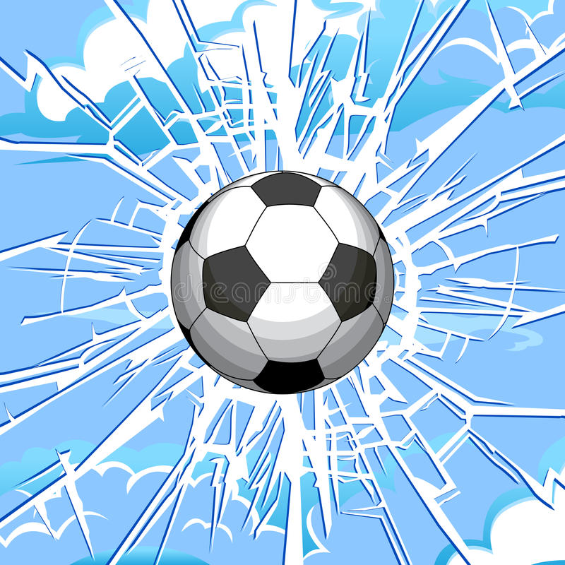 Broken glass. Soccer ball and a crack on the glass stock illustration