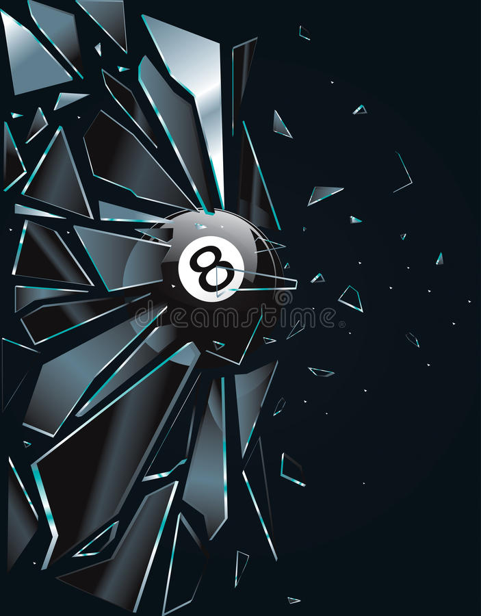 Broken Glass 8 Ball royalty free illustration