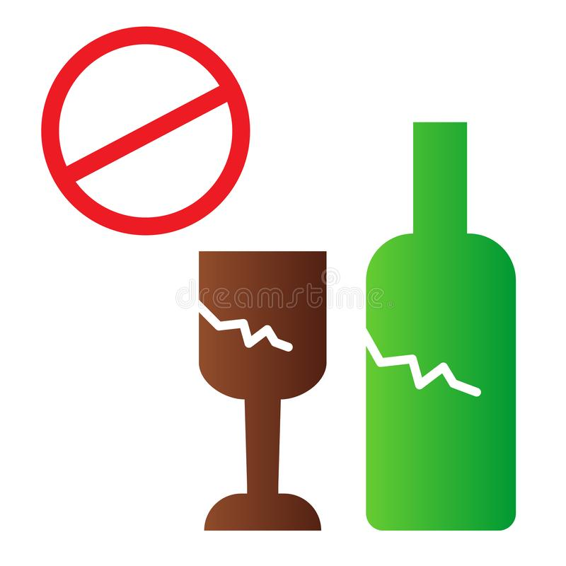 Broken glass ban flat icon. No glass or bottles color icons in trendy flat style. Broken package prohibited gradient. Style design, designed for web and app vector illustration